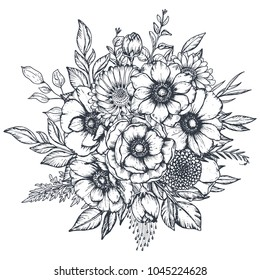 Vector black and white floral composition, bouquet of hand drawn anemone flowers, buds and leaves in sketch style isolated on white background. Beautiful illustration for spring design.