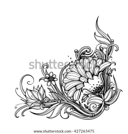 Vector Black White Floral Corner Border Stock Vector Royalty Free