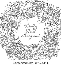 vector black and white floral frame pattern of spirals, swirls, doodles