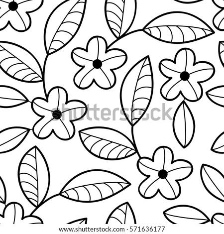 Vector black white flower seamless pattern stock vector royalty vector black and white flower seamless pattern simple monochrome flower print floral cute doodle mightylinksfo