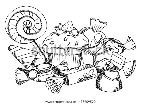 Vector Black White Food Coloring Book Stock Vector (Royalty ...