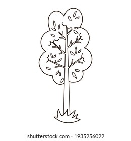 Vector black and white garden or forest tree. Outline spring woodland or farm plant illustration. Natural line drawing shrub icon