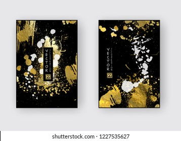 Vector Black, White and Gold Design Templates set for Brochures, Flyers, Mobile Technologies, Applications, Online Services, Typographic Emblems, Logo, Banners. Golden Abstract Modern Backgro