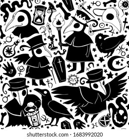 Vector black and white graphic cartoon pattern with plague doctors and crows isolated on the white background. Seamless pattern can be used for wallpaper, pattern fills, web page background, texture
