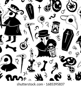 Vector black and white graphic cartoon pattern with plague doctors isolated on the white background. Seamless pattern can be used for wallpaper, pattern fills, web page background, texture