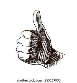 Vector black and white graphic hand drawn illustration of hand with finger up, facebook like sign