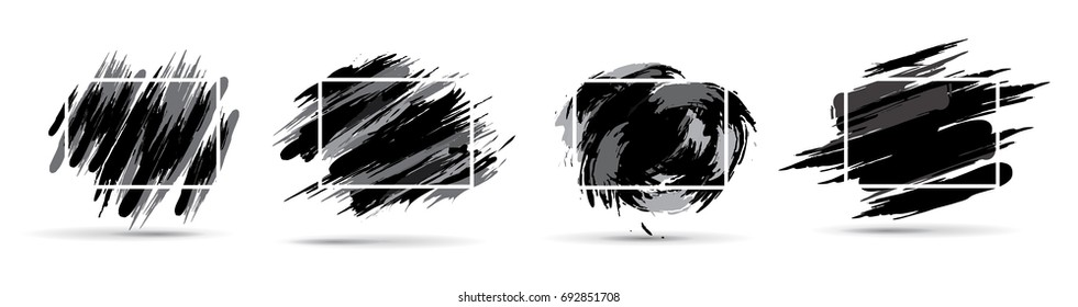 Vector black and white graphics. Hipster set frames are black in the style of paint divorce. Dynamic background for the design of flyers, sales, booklets, cards. vector ink brush