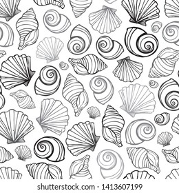 Vector black, white and grey seashells repeat pattern. Suitable for gift wrap, textile and wallpaper.