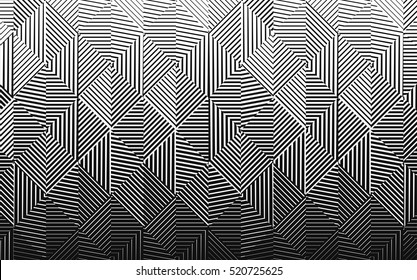 Vector  black and white halftone gradient pattern. Abstract background, with lines getting thin and resulting a fading effect.