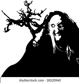 Vector black and white halloween witch