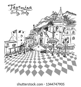 Vector black and white hand drawing. The square Piazza IX Aprile in Taormina, Sicily, Italy