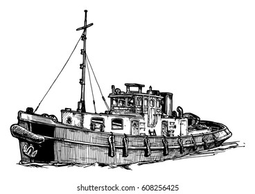 Vector black and white hand drawn illustration of small vintage motor ship. Isolated on white background.