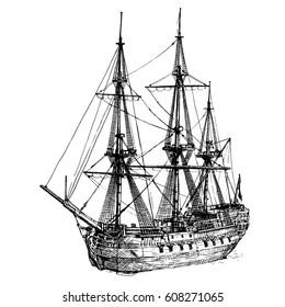 Vector black and white hand drawn illustration of East Indiaman. 18th century cargo ship Amsterdam, sailboat.