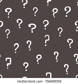 Vector black and white hand drawn question mark seamless pattern