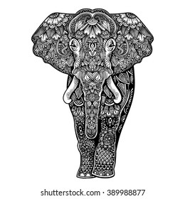 Vector Black and White Henna Elephant Illustration
