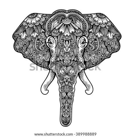 Vector Black White Henna Elephant Head Stock Vector Royalty Free