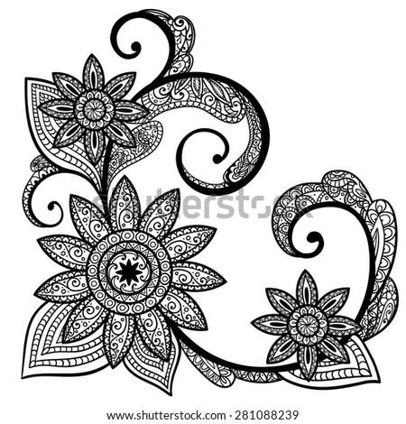 Vector Black White Henna Flower Illustration Stock Vector Royalty