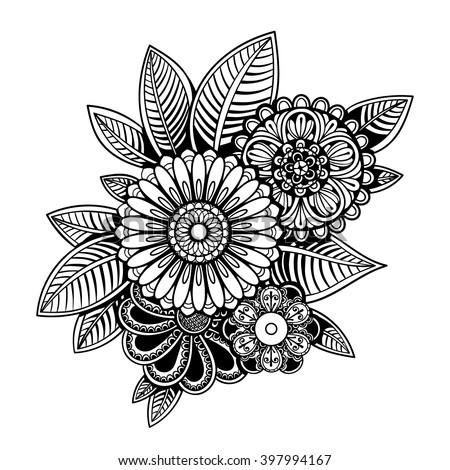 Vector Black White Henna Flowers Illustration Stock Vector Royalty