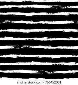 Vector black and white horizontal striped seamless pattern with brush strokes. Hand painted grange texture. Can be used for wallpaper, pattern fills, web page, surface textures, wrapping paper.