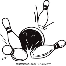 Vector black and white illustration of bowling  ball knocks down pins.