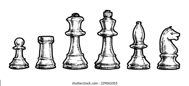 Vector black and white illustration of chess stylized as engraving