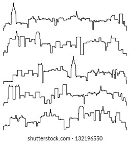 Vector black and white illustration of city or town skyline  contours of buildings