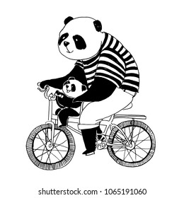 Vector black and white illustration for coloring book. Father panda in black and white t-shirt cycling by bicycle with his little son panda