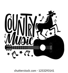 Vector black and white illustration with dancing horse in shoes on the guitar and lettering text - Country music. Funny typography poster with animal, musical instrument, stars and melogy symbols