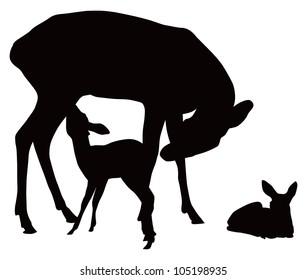 Vector black and white illustration of deer family. Mother feeding cattle.