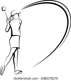 Vector black and white illustration of a girl golfer teeing off. There is a white backing behind the golfer to easily turn it into a silhouette.