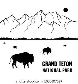 Vector black and white illustration of Grand Teton National Park with bisons.