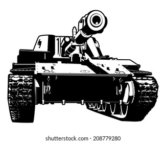 Vector black and white illustration of heavy tank.