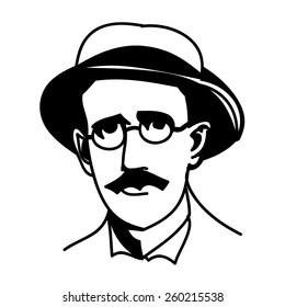 A vector, black and white illustration of James Joyce