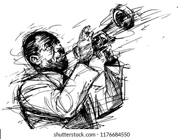 Vector black and white illustration for jazz poster. Jazz trumpet player. Sketch style