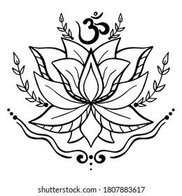 Vector black and white illustration of lotus flower and om ohm aum symbol isolated on white background. Yoga, meditation, relaxation.