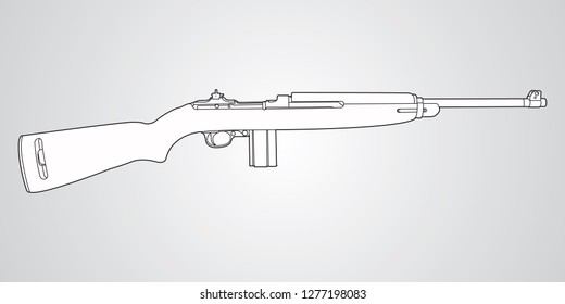 Vector black and white illustration of M1 Carbine rifle