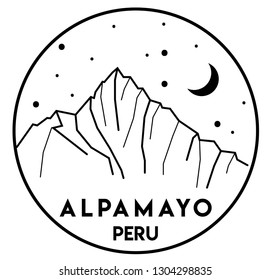 Vector black and white illustration of mount Alpamayo in Peru. Mountains, adventure, trekking, climbing, hiking, camping. Print design.  Hand drawn, sketch, lines.