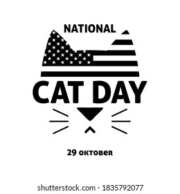 Vector black and white illustration for National Cat Day in USA. Logo, badge, banner, postcard, postcard, print for cat lovers
