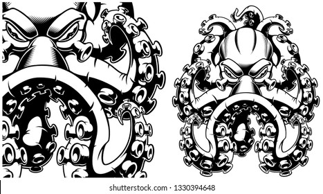 Vector black and white illustration of octopus on a white background. Ideal for T-shirt design