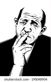 Vector black and white illustration of a sad old man smoking a cigarette