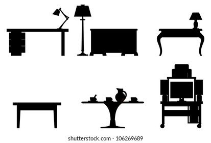 Vector black and white illustration of six tables.