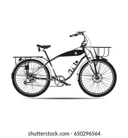 Vector black and white illustration of touring bike. Road racing bicycle flat style design element isolated on white background.