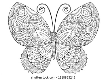 Vector black and white image of a butterfly on white background. Hand drawn butterfly zentangle style for t-shirt design or tattoo.