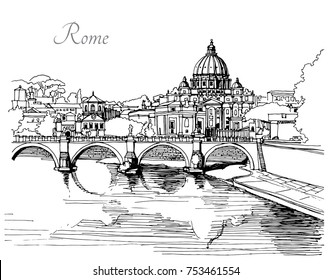 Vector black and white image of italy. View of the bridge and the castle of St. angels in Rome. Graphics sketch. Hand draw. For cards, t shirt, wallpaper