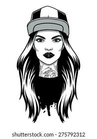 Vector black and white image of a young girl with tattoos. Vector logo hipster girl.
