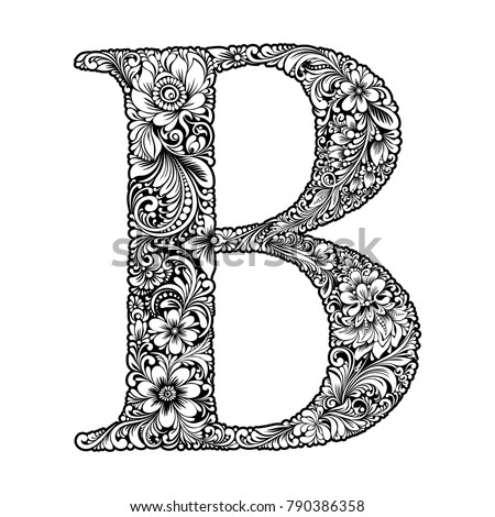 76c2928c2868 vector black and white initial letter B with flowers floral vintage  ornament for design