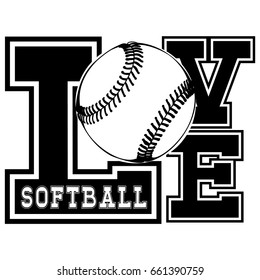 Vector black and white inscription love softball. Design for tattoo or print t-shirt.