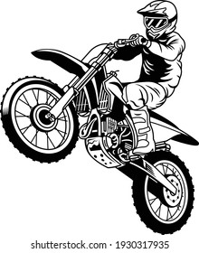 vector of black and white jumping racer riding the motocross