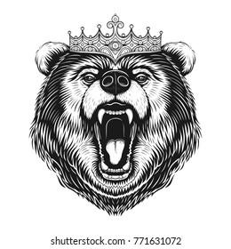 Vector Black and White King Bear Illustration