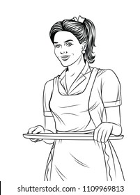 Vector black and white line art illustration of a beautiful waitress with a tray food. Young girl in apron serving a order